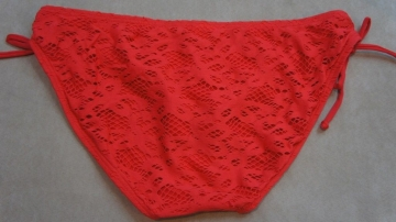 Kenneth Cole Bikini Bottom Sz L Solid Red Lip Adjustable Crochet Hipster RS5LE95