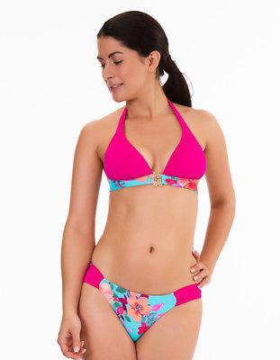 Womens Mio Swim Blue and Pink Floral Print Ladies Ruched Side Bikini Brief