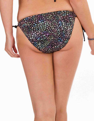 Womens Mio Swim Metallic Snake Print and Black Trim Ladies Bikini Brief